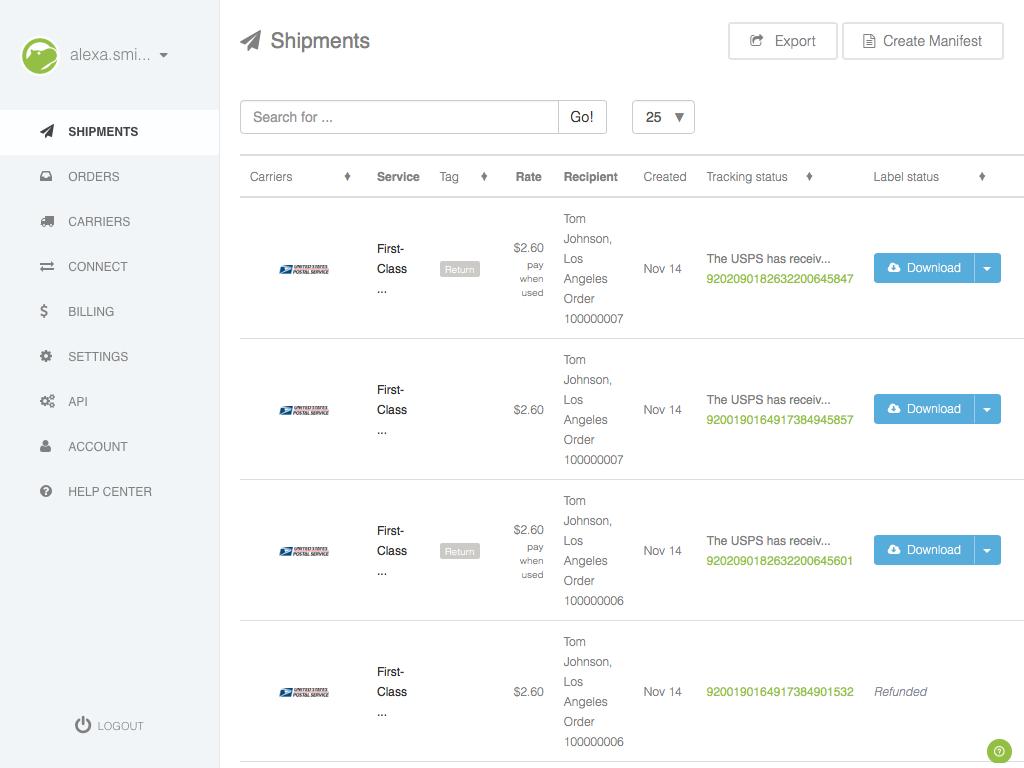 goshippo.com > Shipments