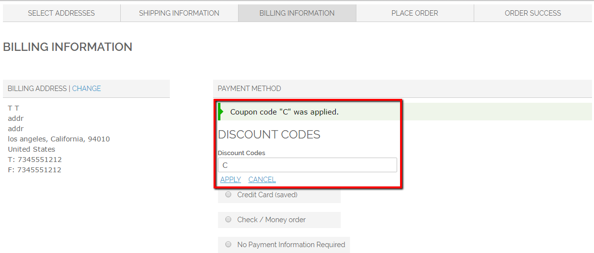 Multishipping Checkout > Billing Information > Payment Method